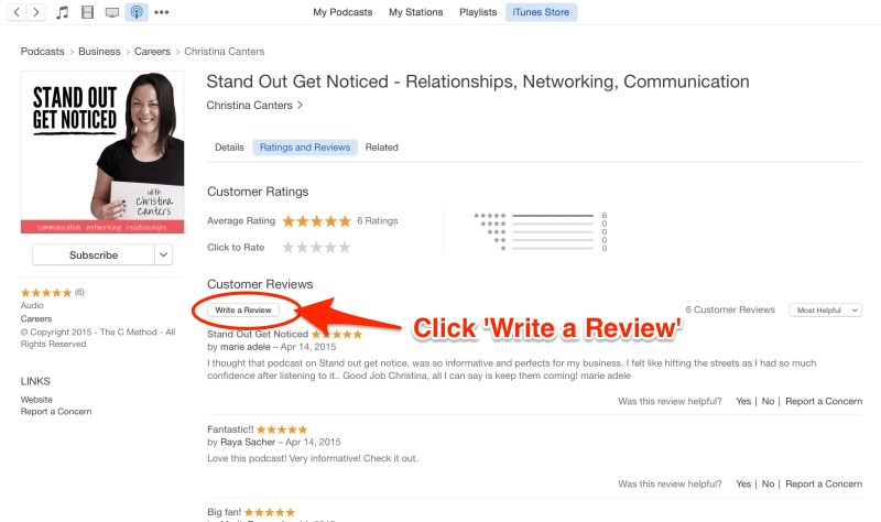 Christina Canters Stand Out Get Noticed Podcast iTunes Review The C Method