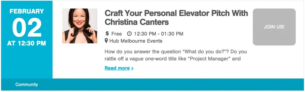 elevator pitch workshop Christina Canters hub melbourne