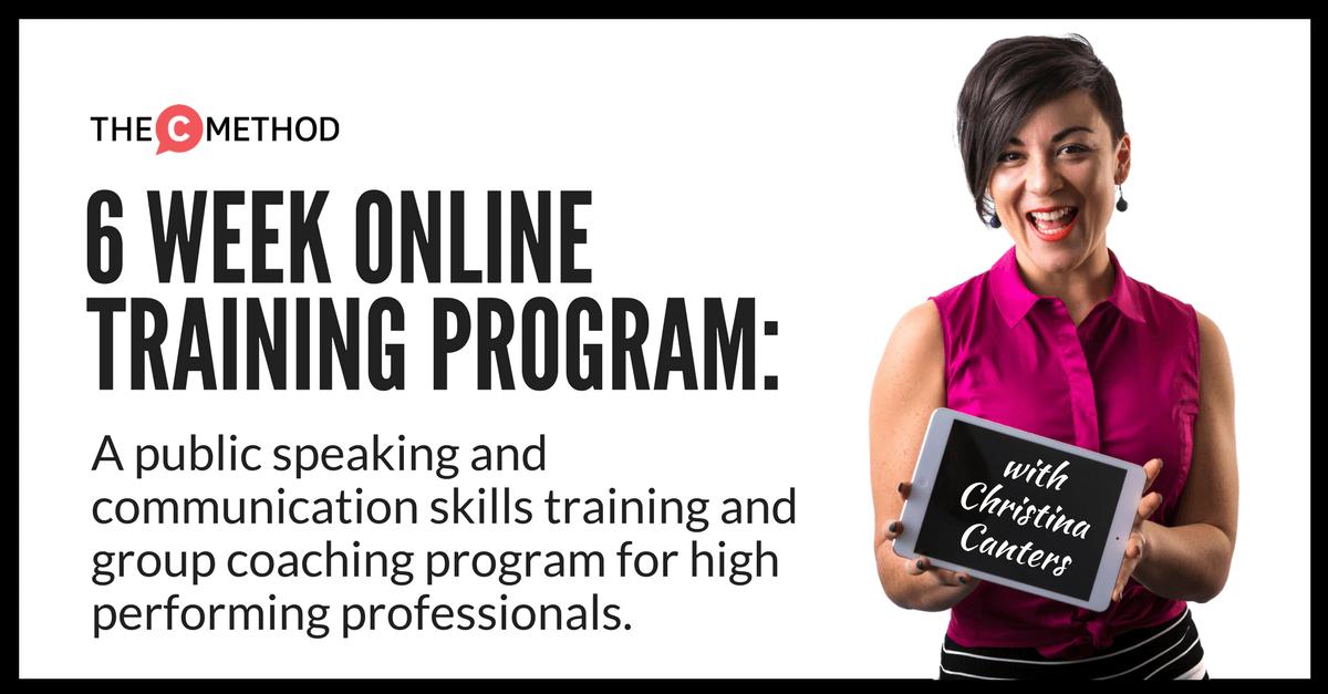 Christina Canters group coaching public speaking communication skills program